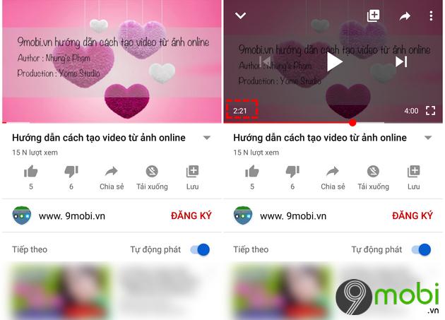 binh luan kem moc thoi gian tren youtube cho android