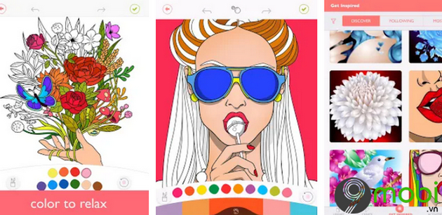 colorfy ung dung hoc to mau tren android