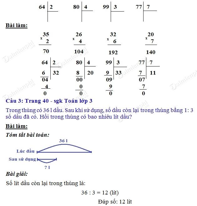 giai toan 3 trang 40 sgk luyen tap 2