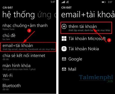 dang nhap gmail tren windows phone