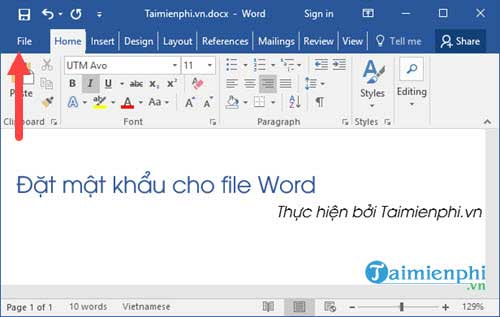 dat mat khau file Word