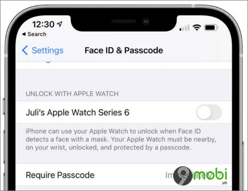 ios 14 5 ho tro mo khoa iphone bang apple watch khi deo khau trang