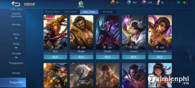 nhan tuong mobile legends
