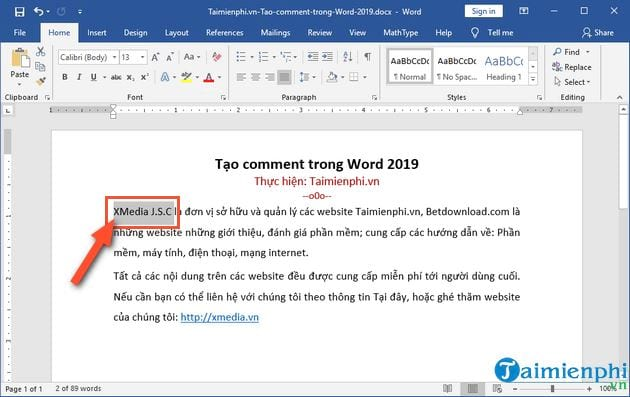 cach tao comment trong word 2019 2