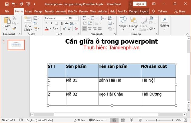 cach can giua o trong powerpoint 2