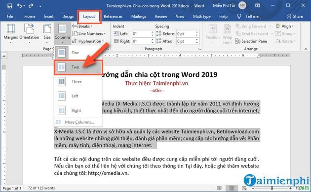 cach chia cot trong word 2019 2