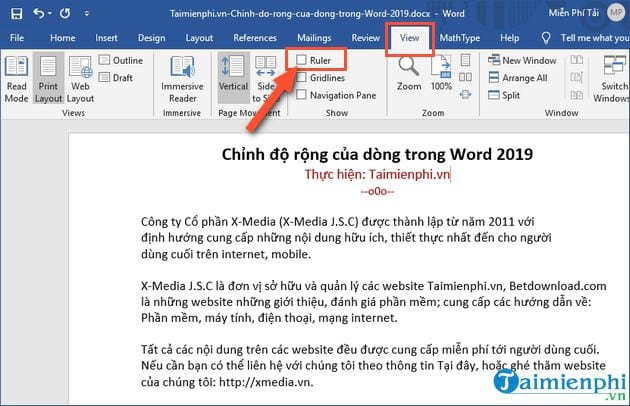 cach chinh do rong cua dong trong word 2019 2