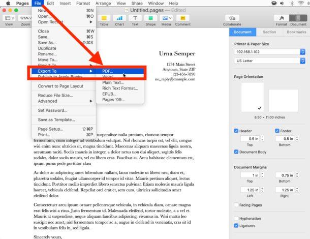 cach chuyen doi xuat file pages sang pdf tren mac 2
