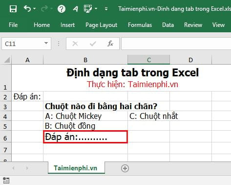 cach dinh dang tab trong excel 2
