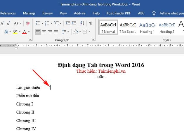 cach dinh dang tab trong word 2016 2