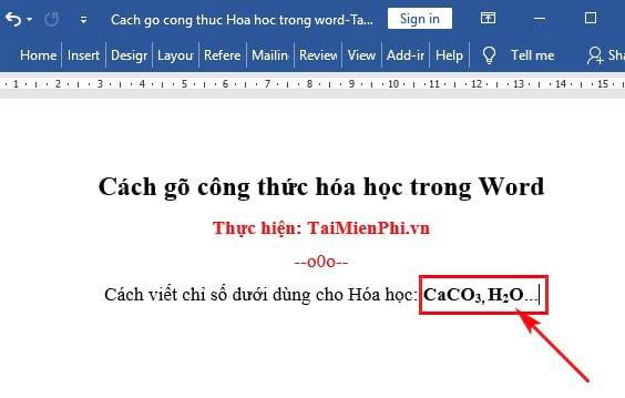 cach go cong thuc hoa hoc trong word 2
