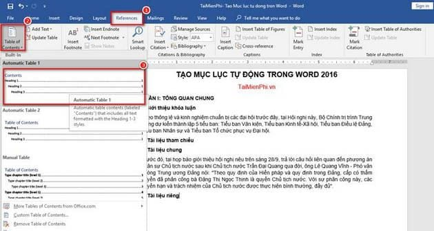cach lam muc luc trong word 2016 2