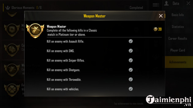 cach nhan danh hieu weapon master pubg mobile 2