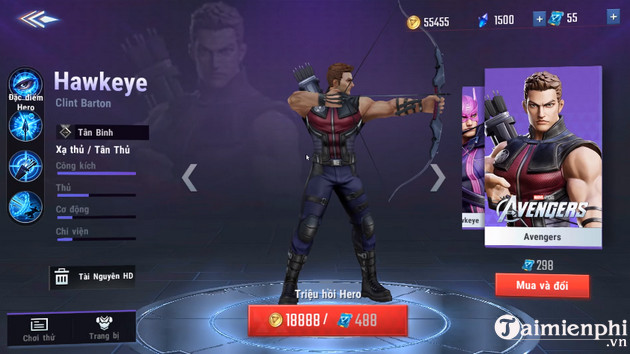 cach nhan mien phi tuong hawkeye marvel super war 2