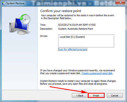 cach su dung system restore trong windows 7