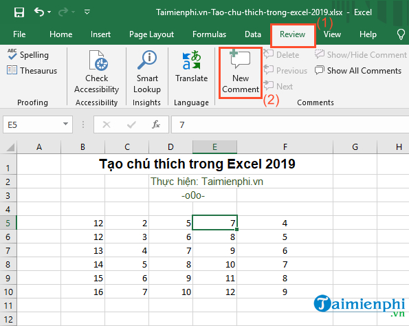 cach tao chu thich trong excel 2019 2