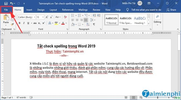 cach tat check spelling trong word 2019 2