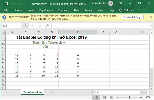 cach tat enable editing khi mo excel 2019 2