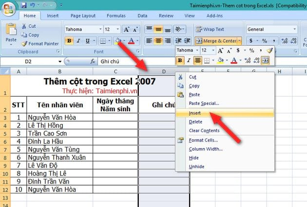 cach them cot trong excel 2007 2