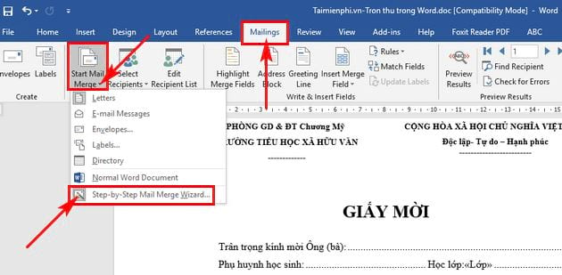 cach tron thu trong word 2016 2
