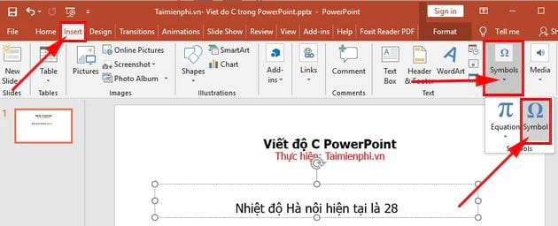 cach viet do c trong powerpoint 2