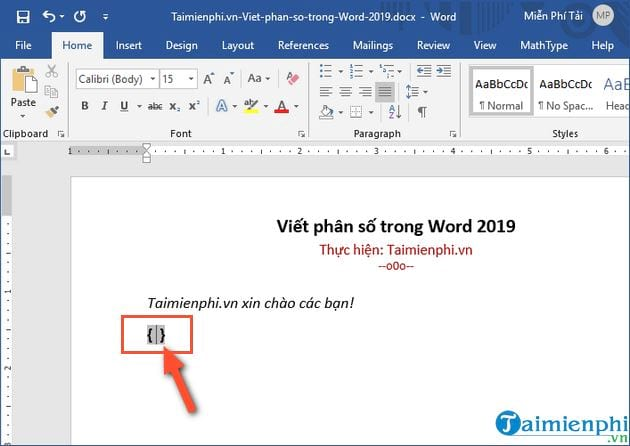 cach viet phan so trong word 2019 2