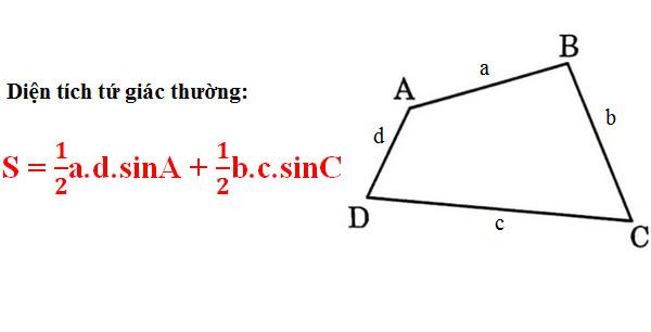 Công thức tính diện tích tứ giác 1