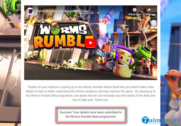 dang ky choi truoc game worms rumble 2
