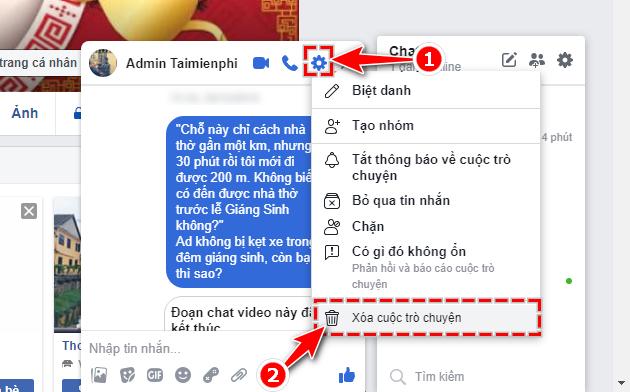 Facebook - Cách xóa tin nhắn, lịch sử chat