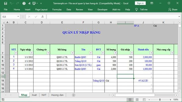 file excel quan ly ban hang 2