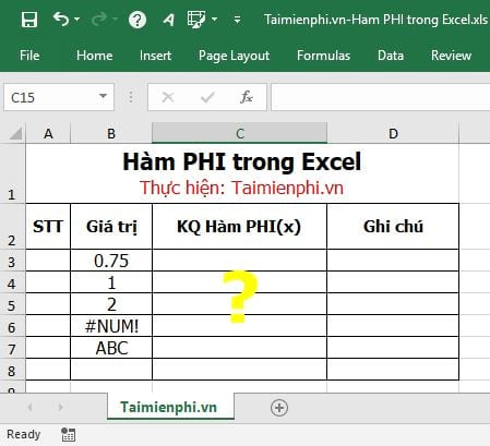 ham phi trong excel 2