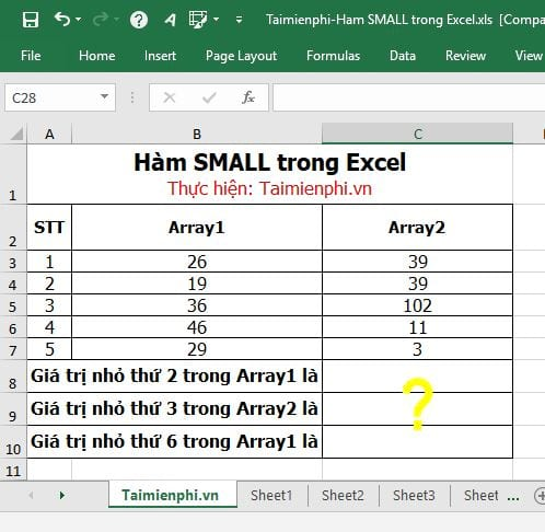 ham small trong excel 2