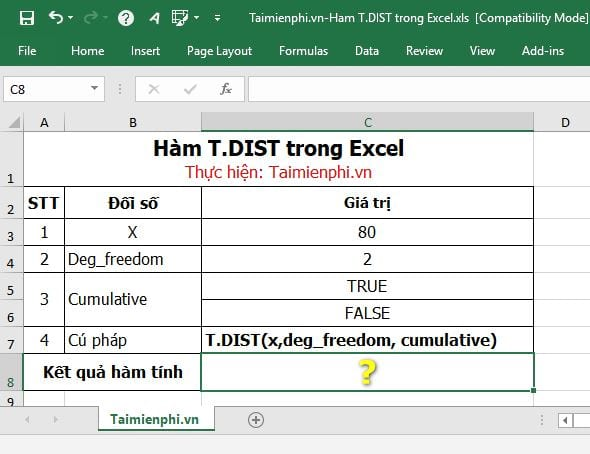 ham t dist trong excel 2