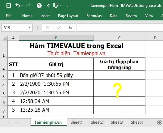 ham timevalue trong excel 2