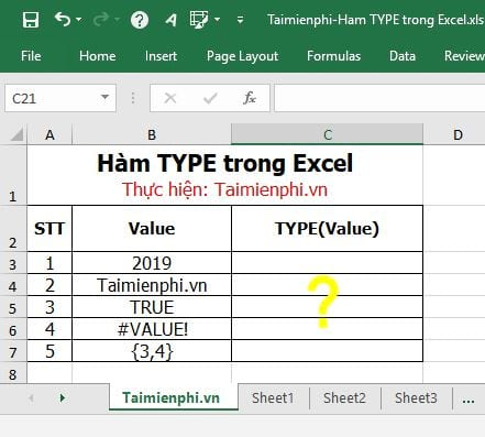 ham type trong excel 2