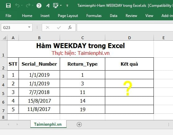 ham weekday trong excel 2