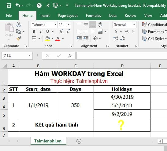 ham workday trong excel 2