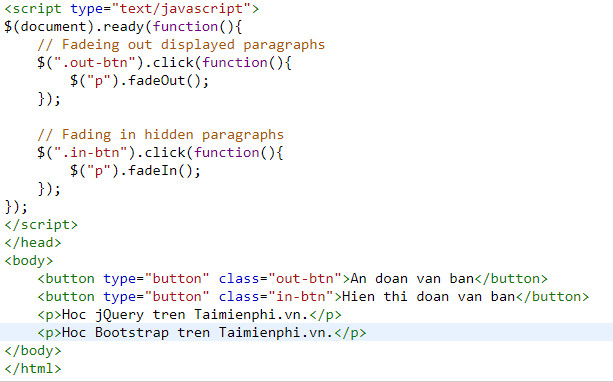 hieu ung fade in va fade out trong jquery