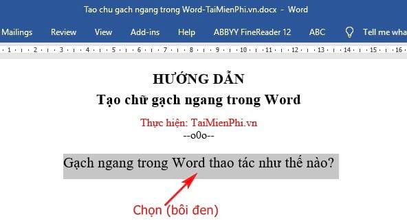 huong dan tao chu gach ngang trong word 2