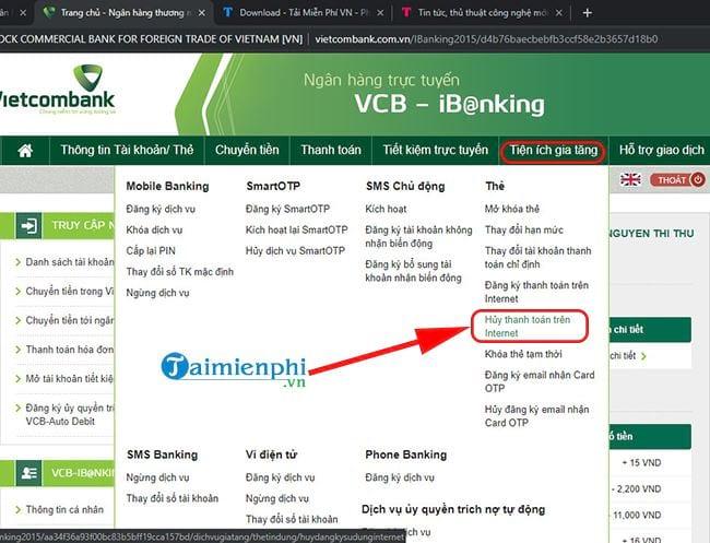 huy dang ky thanh toan the tren internet vietcombank 2