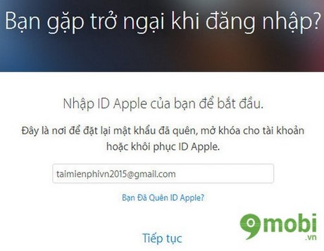 lay lai mat khau Apple ID