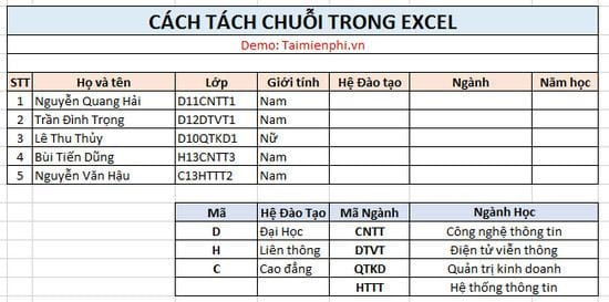 cach tach chuoi trong excel 2