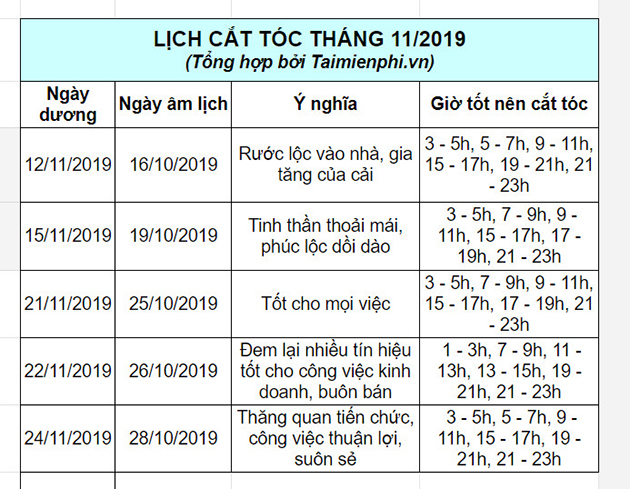 lich cat toc thang 11 2019 2