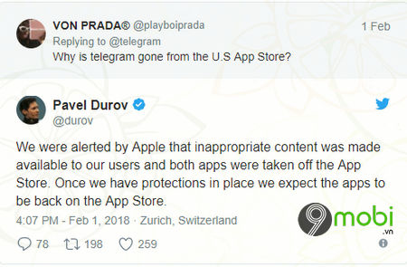 telegram da bi xoa so khoi app store 2