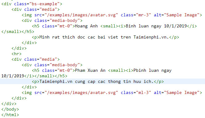 media object trong bootstrap
