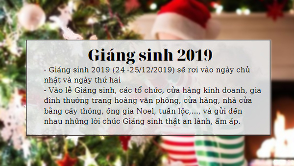 noel 2019 vao thu may 2