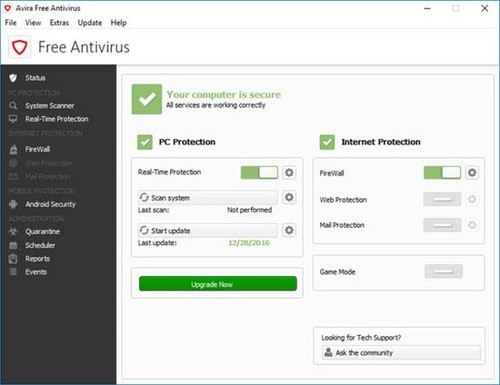 Avira 2017 has special features