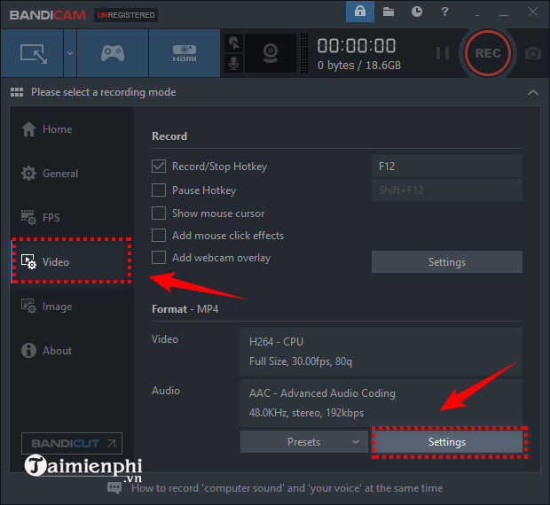 how to record video in bandicam