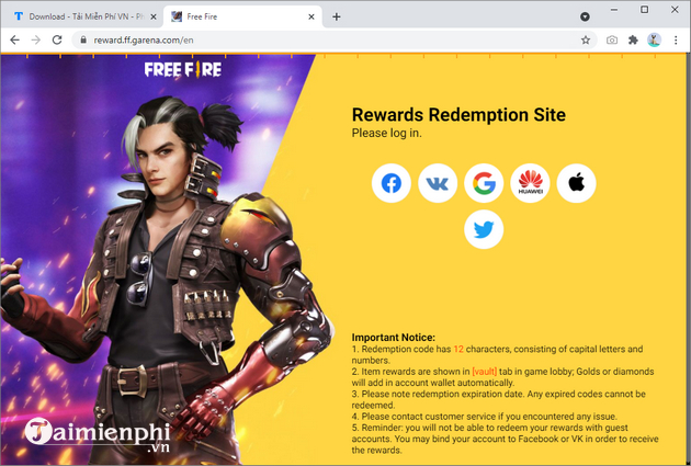 redeem code free fire thang 4 2021