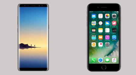 so sanh samsung note 8 va iphone 7 plus 2